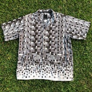 Sean John Gray Abstract Square Button Down Shirt